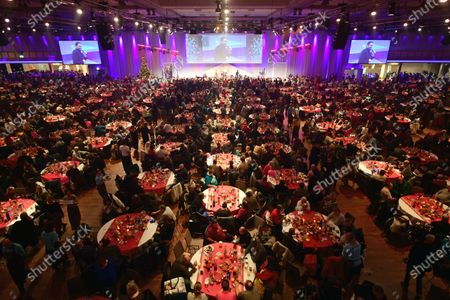 A view of the dinner to homeless people during the annual Christmas party of German singer and actor Frank Zander in Berlin, Germany, 20 December 2019. Zander held the Christmas party for about 3,000 homeless people for the 25th time.