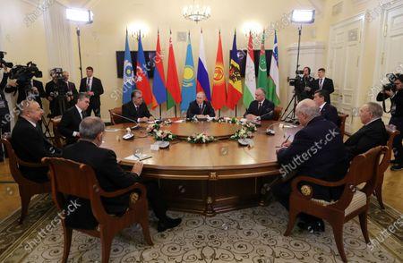 (Clockwise from L) Azerbaijan's President Ilham Aliyev, Turkmenistan's President Gurbanguly Berdymukhamedov, Tajik President Emomali Rahmon, Russian President Vladimir Putin, Moldovan President Igor Dodon, Kyrgyzstan's President Sooronbay Jeenbekov, Kazakhstan's former President Nursultan Nazarbayev, Belarus President Alexander Lukashenko and Armenian Prime Minister Nikol Pashinyan attend an informal meeting of CIS (Commonwealth of Independent States) Heads in St. Petersburg, Russia, 20 December 2019.