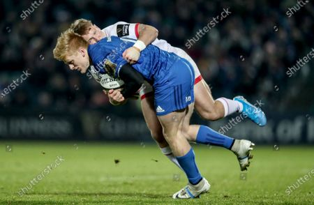 Leinster vs Ulster. Leinster's Conor O'Brien with Ethan McIlroy of Ulster