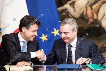 The Italian Prime Minister Giuseppe Conte and Vice President of the European Investment Bank Dario Scannapieco take part in the signing ceremony between the European Investment Bank and Cassa depositi e prestiti in support of civil protection interventions for disastrous events at the Sala dei Galleoni in Palazzo Chigi, Rome.