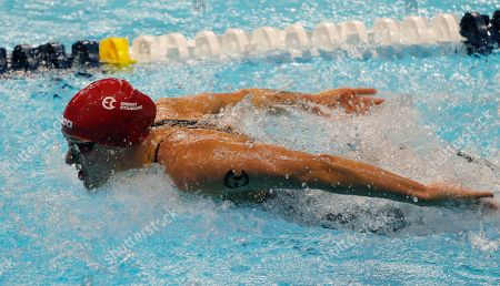 Sarah Sjostrom competes in the women's 100m butterfly during an International Swimming League event, in Las Vegas