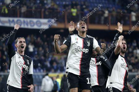 Danilo, Adrien Rabiot and Miralem Pjanic of Juventus