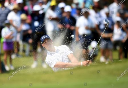 Australian golfer Anthony Quayle plays a bunker shot on day three of the 2019 Australian PGA Championship at the RACV Royal Pines Resort on the Gold Coast, Queensland, Australia, 21 December 2019.