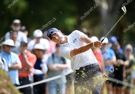 Australian golfer Anthony Quayle plays a shot on day three of the 2019 Australian PGA Championship at the RACV Royal Pines Resort on the Gold Coast, Queensland, Australia, 21 December 2019.