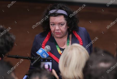 Karen Pierce, Permanent Representative of the United Kingdom of Great Britain and Northern Ireland, briefs reporters after the Security Council meeting on the situation in the Middle East (Syria) at the UN Headquarters