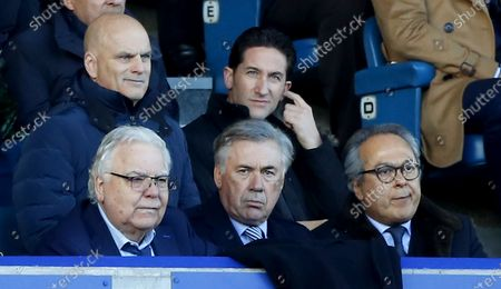 New Everton manager Carlo Ancelotti (C) with Everton's chairman Bill Kenwright (2-L) and owner Farhad Moshiri (R) in the stands during the English Premier League soccer match between Everton FC and Arsenal FC at Goodison Park in Liverpool, Britain, 21 December 2019.