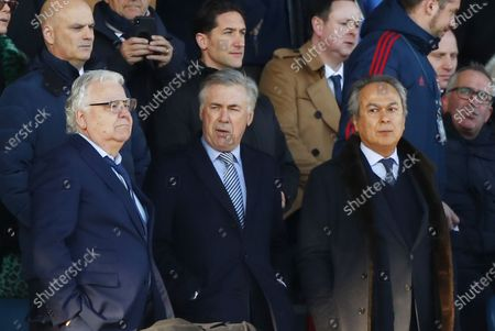 New Everton manager Carlo Ancelotti (C), Everton's chairman Bill Kenwright (L) and owner Farhad Moshiri (R) in the stands during the English Premier League soccer match between Everton FC and Arsenal FC at Goodison Park in Liverpool, Britain, 21 December 2019.