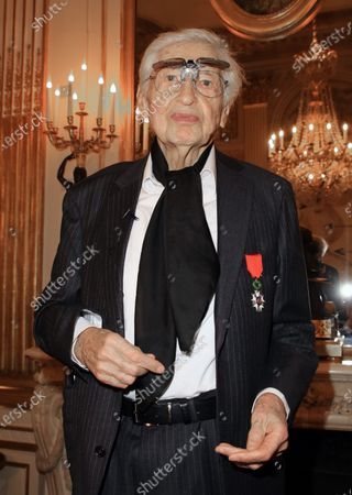Julio le Parc, with the Chevalier de la Legion d'Honneur (Knight of the Legion of Honor) medal during a ceremony at the Culture Ministry in Paris