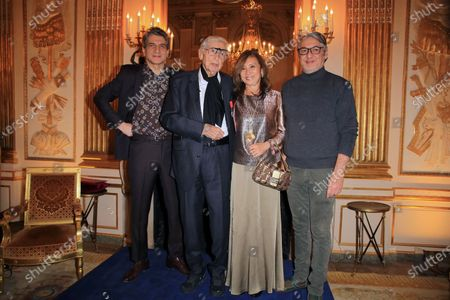 Stock Picture of Julio le Parc, born argentina, and his wife and sons after receiving the Chevalier de la Legion d'Honneur (Knight of the Legion of Honor) medal during a ceremony at the Culture Ministry in Paris