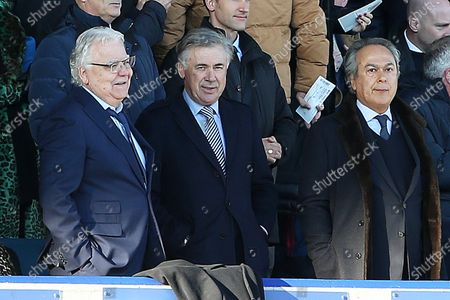 Everton Chairman Bill Kenwright, new Manager Carlo Ancelotti and owner Farhad Moshiri  during the Premier League match between Everton and Arsenal at Goodison Park, Liverpool