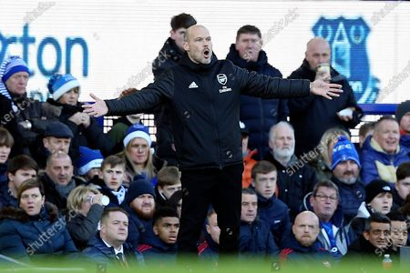 Arsenal Caretaker Manager Fredrik Ljungberg during the Premier League match between Everton and Arsenal at Goodison Park, Liverpool