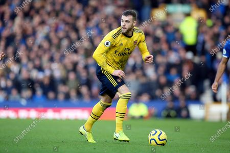 Arsenal defender Calum Chambers (21) during the Premier League match between Everton and Arsenal at Goodison Park, Liverpool