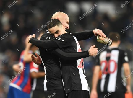Miguel Almiron of Newcastle United (right) celebrates after the final whistle with Jonjo Shelvey of Newcastle United