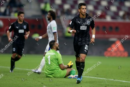 Monterrey's Maximiliano Meza celebrates after scoring his side's second goal during the Club World Cup third place soccer match between Al Hilal and Monterrey at Khalifa International Stadium in Doha, Qatar