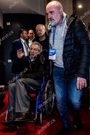 Stock Picture of Umberto Bossi during extraordinary congress of the League for the modification of the party statute