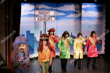 """Stock Picture of Characters portraying Haight-Ashbury hippies and the Beatles perform during the musical """"Beach Blanket Babylon"""" in San Francisco. The campy small San Francisco show that's been a must-see for tourists and locals alike for more than 45 years, making it the nation's longest continuously running musical revue, is closing its curtain. Its final performance is set for New Year's Eve"""