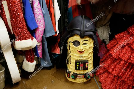 """A costume hat depicting Mr. Peanut sits in the backstage dressing room of the musical """"Beach Blanket Babylon"""" in San Francisco. The final performance of the small campy San Francisco show is set for New Year's Eve"""