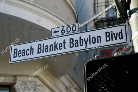 """A street sign named for the musical """"Beach Blanket Babylon"""" is seen near where the show is performed in San Francisco. The final performance of the small campy San Francisco show is set for New Year's Eve"""