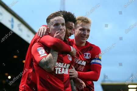 O's Jordan Maguire-Drew celebrates after scoring with Lee Angol & Josh Wright  during Cambridge United vs Leyton Orient, Sky Bet EFL League 2 Football at Abbey Stadium on 21st December 2019