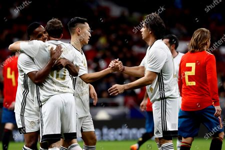 (L-R) Goldstandard World Stars' players Samuel Eto'o, Alessandro Del Piero, Wu Xi and Nuno Gomes celebrate a goal during their charity soccer game between Spanish National Team Legends and Goldstandard World Stars played in Wanda Metropolitano Stadium, in Madrid, Spain, 21 December 2019. The money raised in the event will be destined to fight Amyotrophic lateral sclerosis (ALS) and help wheelchair-soccer development.
