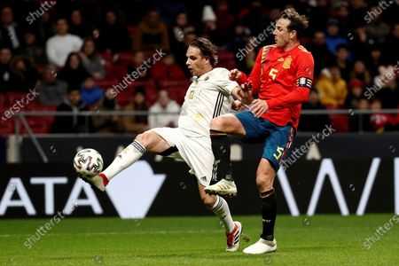 Stock Picture of Goldstandard World Stars' Nuno Gomes (L) in action against Spanish National Team Legends' Carlos Marchena during their charity soccer game between Spanish National Team Legends and Goldstandard World Stars played in Wanda Metropolitano Stadium, in Madrid, Spain, 21 December 2019. The money raised in the event will be destined to fight Amyotrophic lateral sclerosis (ALS) and help wheelchair-soccer development.