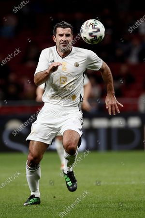 Goldstandard World Stars' Luis Figo in action during the charity soccer game between Spanish National Team Legends and Goldstandard World Stars played in Wanda Metropolitano Stadium, in Madrid, Spain, 21 December 2019. The money raised in the event will be destined to fight Amyotrophic lateral sclerosis (ALS) and help wheelchair-soccer development.
