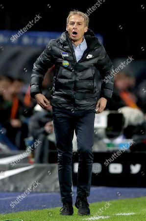 Hertha's head coach Juergen Klinsmann shouts during the German Bundesliga soccer match between Hertha BSC Berlin and Borussia Moenchengladbach in Berlin, Germany