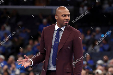 Memphis head coach Penny Hardaway looks to the bench in the second half of an NCAA college basketball game against Jackson State, in Memphis, Tenn