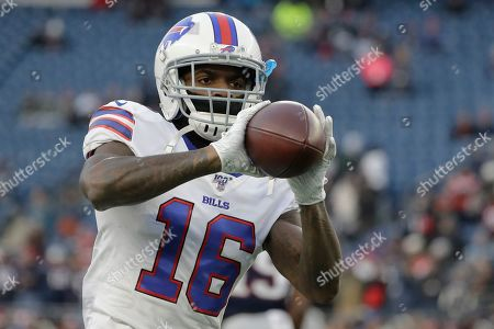 Buffalo Bills wide receiver Robert Foster warms up before an NFL football game against the New England Patriots, in Foxborough, Mass