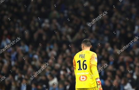 Marseille's goalkeeper Yohann Pele during the French League One soccer match between Marseille and Nimes at the Velodrome stadium in Marseille, southern France
