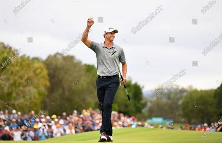 Australian golfer Adam Scott celebrates winning the 2019 Australian PGA Championship at the RACV Royal Pines Resort on the Gold Coast, Queensland, Australia, 22 December 2019.