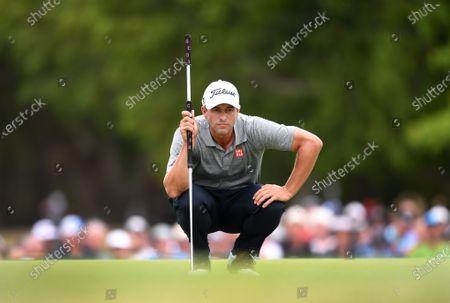 Australian golfer Adam Scott prepares to putt on the 18th before winning the 2019 Australian PGA Championship at the RACV Royal Pines Resort on the Gold Coast, Queensland, Australia, 22 December 2019.
