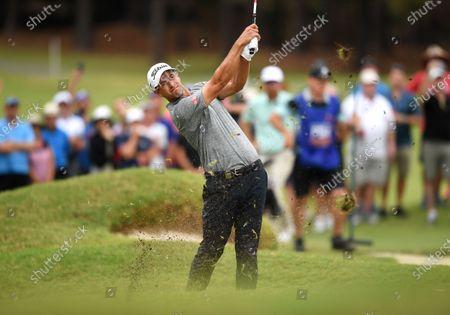 Australian golfer Adam Scott plays a shot on the 18th before winning the 2019 Australian PGA Championship at the RACV Royal Pines Resort on the Gold Coast, Queensland, Australia, 22 December 2019.