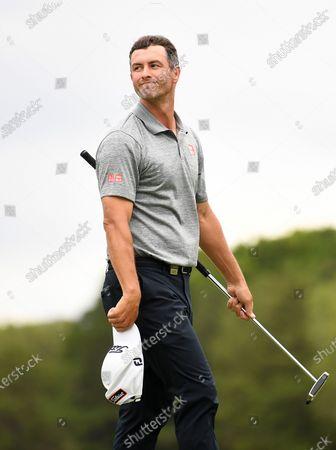 Australian golfer Adam Scott reacts after winning the 2019 Australian PGA Championship at the RACV Royal Pines Resort on the Gold Coast, Queensland, Australia, 22 December 2019.