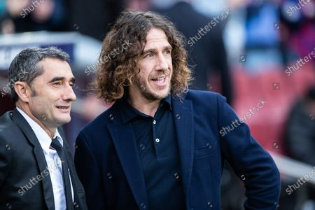Carles Puyol ex FCBarcelona player and Ernesto Valverde, Barcelona coach