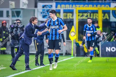 Antonio Conte coach of Inter Milan and Alessandro Bastoni of Inter Milan