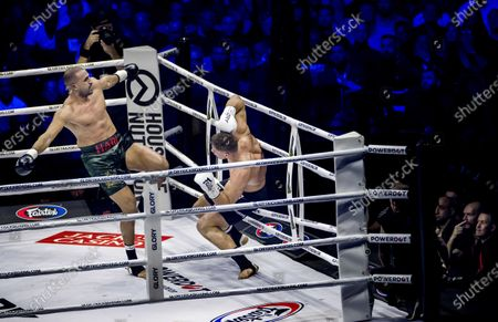 Moroccan-Dutch kickboxer Badr Hari (L) fights against Dutch kickboxer Rico Verhoeven during their rematch of the Glory Collision Heavyweight Championship Bout at GelreDome Stadium in Arnhem, The Netherlands, 21 December 2019. They competed for the world title after Verhoeven was declared the winner three years ago.