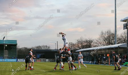 Tom Price of Exeter Braves  is lifted in the air for a line-out