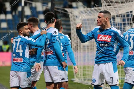 Napoli's players jubilate after the 1-2 goal (own goal by Pedro Obiang) during the Italian Serie A soccer match US Sassuolo vs SSC Napoli at Mapei Stadium in Reggio Emilia, Italy, 22 December 2019.