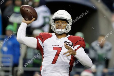 Arizona Cardinals quarterback Brett Hundley in action against the Seattle Seahawks during the second half of an NFL football game, in Seattle
