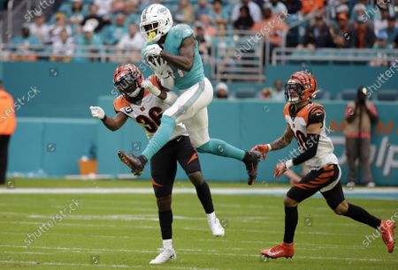 Stock Image of Miami Dolphins DeVante Parker (C) catches a pass between Cincinnati Bengals Shawn Williams (L) and Jessie Bates III during their NFL game at Hard Rock Stadium in Miami, Florida USA 22 December 2019.