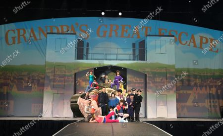 Stock Image of Alice Haig as Miss Verity, Dermot Canavan as as Frank, Devarnie Lothian as Dazza, Grandpa's Great Escape Live, Jasmyn Banks as Shelley, John Marquez as Dad/ Barry, Kammy Darweish as Raj, Nigel Planer as Grandad, Niky Wardley as Patricia, Paul Putner as Nurse Blossom, Richard James as Nurse Rose, Siobhan Redmond as Miss Dandy/Reverend Fine and Tom Cawte as Grandson Jack