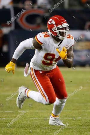 Stock Image of Kansas City Chiefs outside linebacker Terrell Suggs (94) plays against the Chicago Bears in the second half of an NFL football game in Chicago