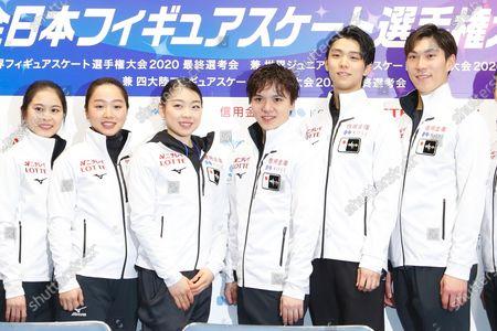 Stock Photo of Satoko Miyahara, Wakaba Higuchi, Rika Kihira, Shoma Uno, Yuzuru Hanyu and Keiji Tanaka