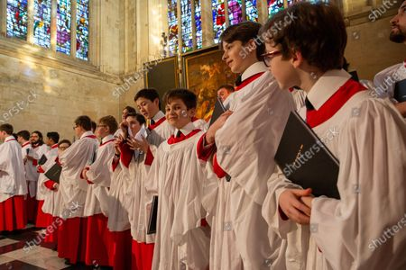 Stock Photo of Choristers in King's College Chapel,Cambridge,rehearsing for the Festival of Nine Lessons and Carols,which is sung on Christmas Eve and shown on the BBC.
