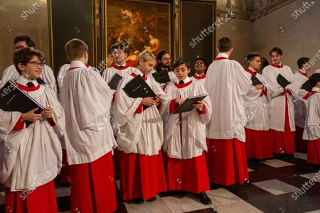 Editorial picture of King's College choristers rehearsing, King's College Chapel, Cambridge, UK - 14 Dec 2019