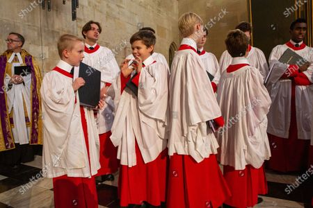 Editorial photo of King's College choristers rehearsing, King's College Chapel, Cambridge, UK - 14 Dec 2019