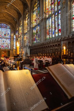 Stock Picture of Choristers in King's College Chapel,Cambridge,rehearsing for the Festival of Nine Lessons and Carols,which is sung on Christmas Eve and shown on the BBC.