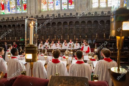 Choristers in King's College Chapel,Cambridge,rehearsing for the Festival of Nine Lessons and Carols,which is sung on Christmas Eve and shown on the BBC.t month following a long illness.This year it will be led by new director of music, Daniel Hyde, who is only the sixth person to hold the post since the turn of the 20th century.