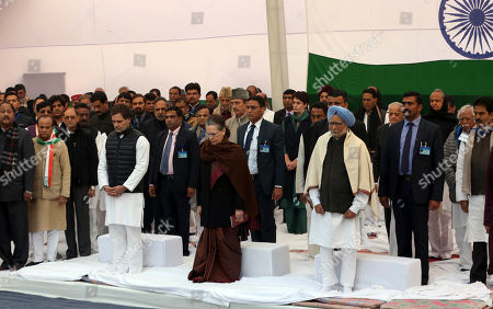 From left, India's main opposition Congress party leader Rahul Gandhi, party president Sonia Gandhi and former prime minister Manmohan Singh, right, stand during a silent protest against a contentious new citizenship law, in New Delhi, India, Monday, Dec.23, 2019. More than twenty people have been killed nationwide since the law was passed in Parliament earlier this month in protests that represent the first major roadblock for Prime Minister Narendra Modi's Hindu nationalist agenda since his party's landslide re-election last spring